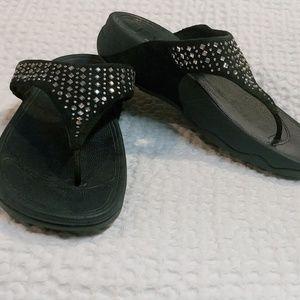 Fitflop Navy Blue Platform Thong Sandals